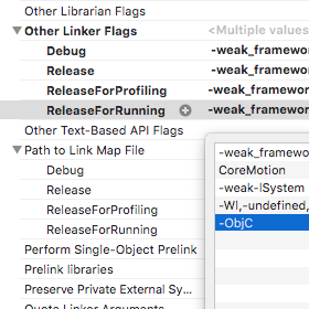 Unity iOS Build Other Linker Flags ObjC