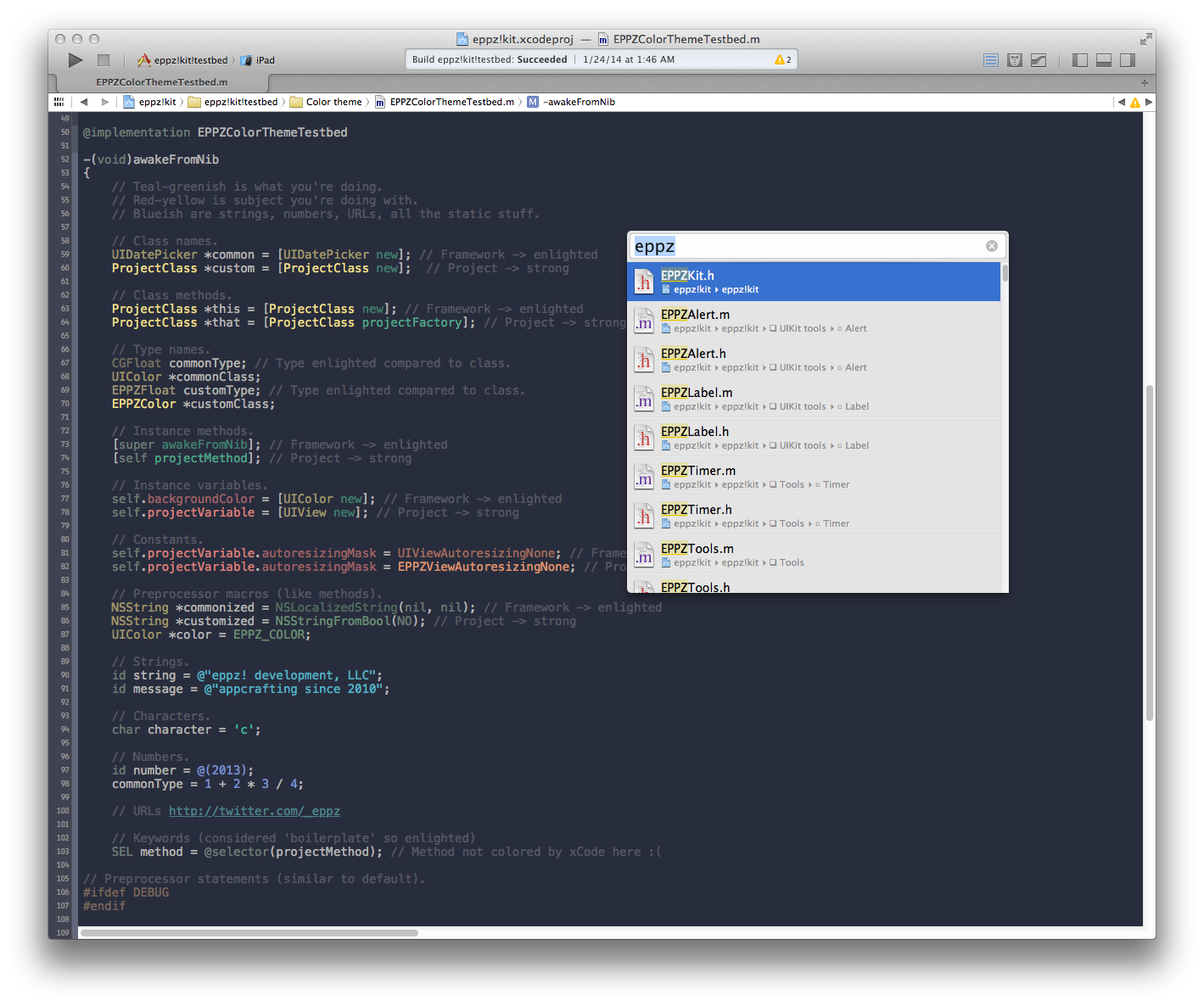 Using eppz!xCode color scheme with a fullscreen code view. Hiding unnecessary tools/panels keeps you focused on the code you're really doing.