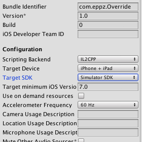 iOS Unity PlayerSettings