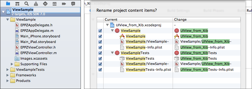First simply rename the project and the targets with the help of xCode just by clicking on the project name in the Navigator panel.
