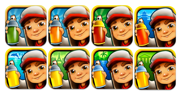 Some vendors are already using this technique, like the color/theme vary of the spraying can on the Subway Surfer icon.